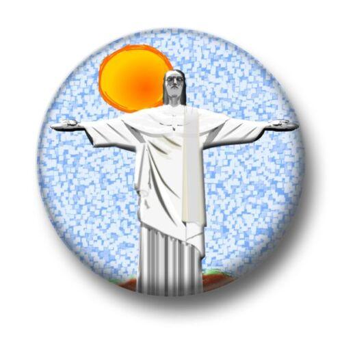 25mm Pin Button Badge Jesus Statue Brazil Catholic Christ The Redeemer 1 Inch