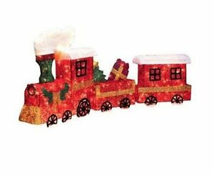 3pc lighted sisal 3d train clear lights outdoor yard for Outdoor christmas train decoration