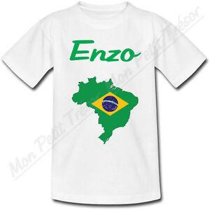 T-shirt-Enfant-Carte-Bresil-avec-Drapeau-avec-Prenom-Personnalise