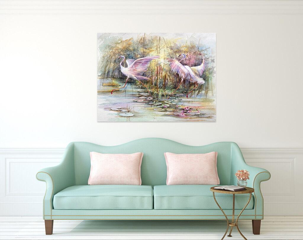 3D Weißer Kran Lotus Teich 843 Fototapeten Wandbild BildTapete AJSTORE DE Lemon