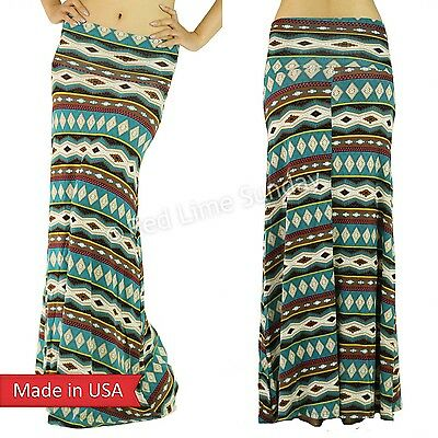 Teal Geometric Multi Color Tribal Stripes Fold Over Long Rayon Maxi Skirt USA