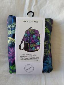BRAND NEW Bespoke Lightweight Packable Travel Backpack - Tropical Pattern