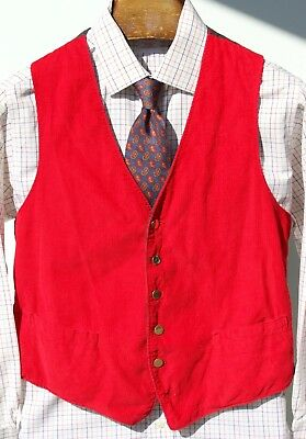 Gentleman's M Red Corduroy Reversible Vest  - Grey & Red Striped Cotton Reverse