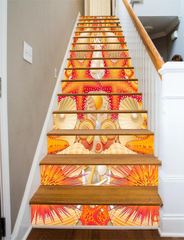 3D Seashell star 27 Stair Risers Decoration Photo Mural Vinyl Decal Wallpaper UK
