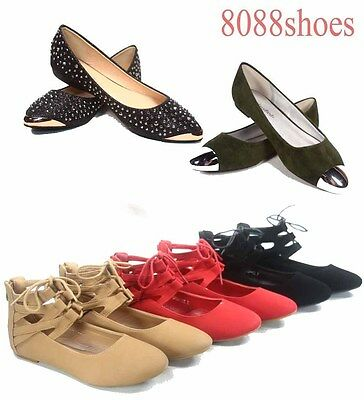 Women's Cute Fahsion Lace Up Round Toe  Ballet Flat Sandal Shoes NEW Size 5 - 10