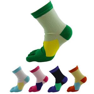 1-Par-Mujer-Medio-Tubo-deporte-Calcetines-Para-Correr-Algodon-Suave-5-DEDOS