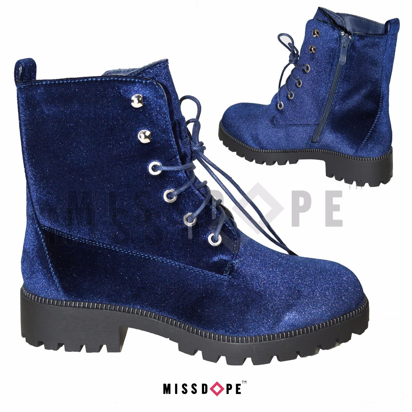 NEW VELVET NAVY BOOTS WOMENS ANKLE GOTH PUNK LACE UP BIKER CRUSHED blueE SHOES