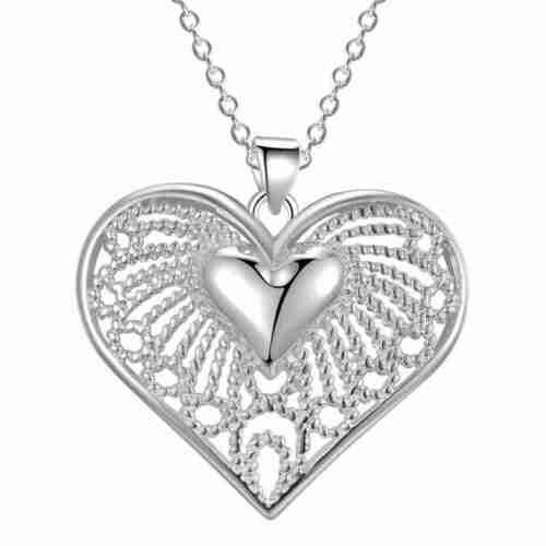 925 Sterling silver wedding Fashion charms Heart women Necklace Jewelry
