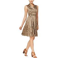 Tommy Hilfiger 4067 Womens Brown Polka Dot Collared Shirtdress 16 BHFO