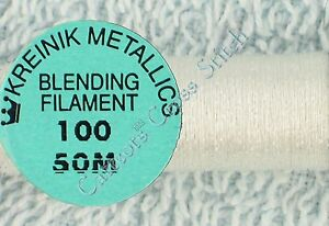 Kreinik-Blending-Filament-100-White-Metallic-Thread-50M-Cross-Stitch
