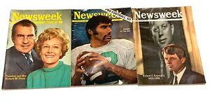 Lot-of-3-Vintage-Newsweek-Magazines-1968-1969-President-Nixon-Joe-Namath-Kennedy