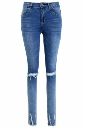 Womens Skinny Rose Slim Fit Embellished Knee Cut Out Ripped Faded Denim Jeans
