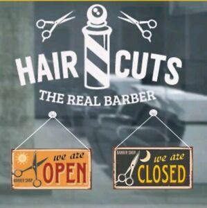 BARBER-SHOP-SIGN-034-OPEN-CLOSED-034-VINTAGE-STYLE-HAIR-CUTS-034-TARGHETTA-034-APERTO-CHIUSO-034