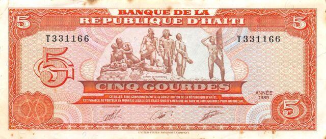 Haiti   5  Gourdes  1987  P 246a  Series  T  Circulated Banknote JJ16