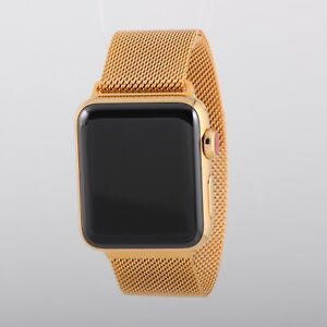 24k Gold Plated 38mm Apple Watch Series 3 Milanese Band Latest