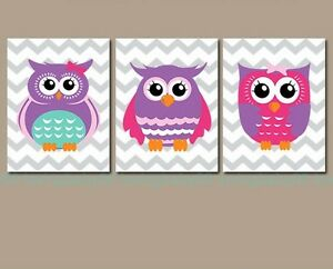 Image Is Loading 3pcs Colorful Owls Wall Decals Kids Art Nursery