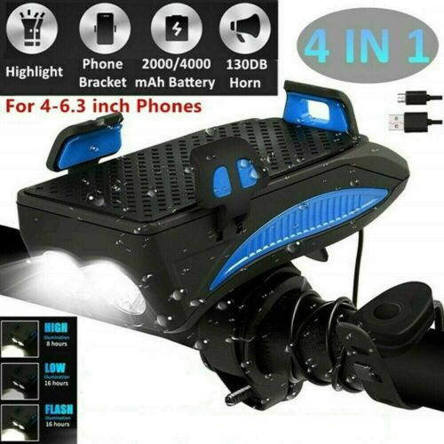 LED Bicycle Headlight Bike Horn Front Cycling USB Rechargeable Kit Power