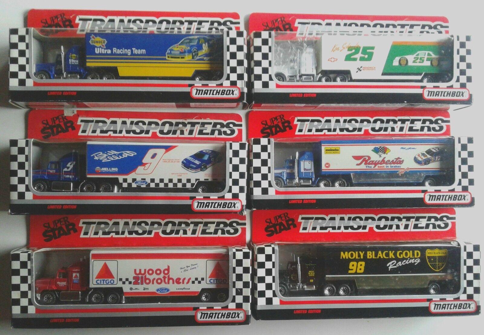 Lot de 6 Nascar Matchbox Super Star transporteurs Hauler tracteur remorque NEW IN BOX