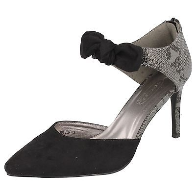 Spot On F9R673 Ladies Black PU Court Shoes R9B
