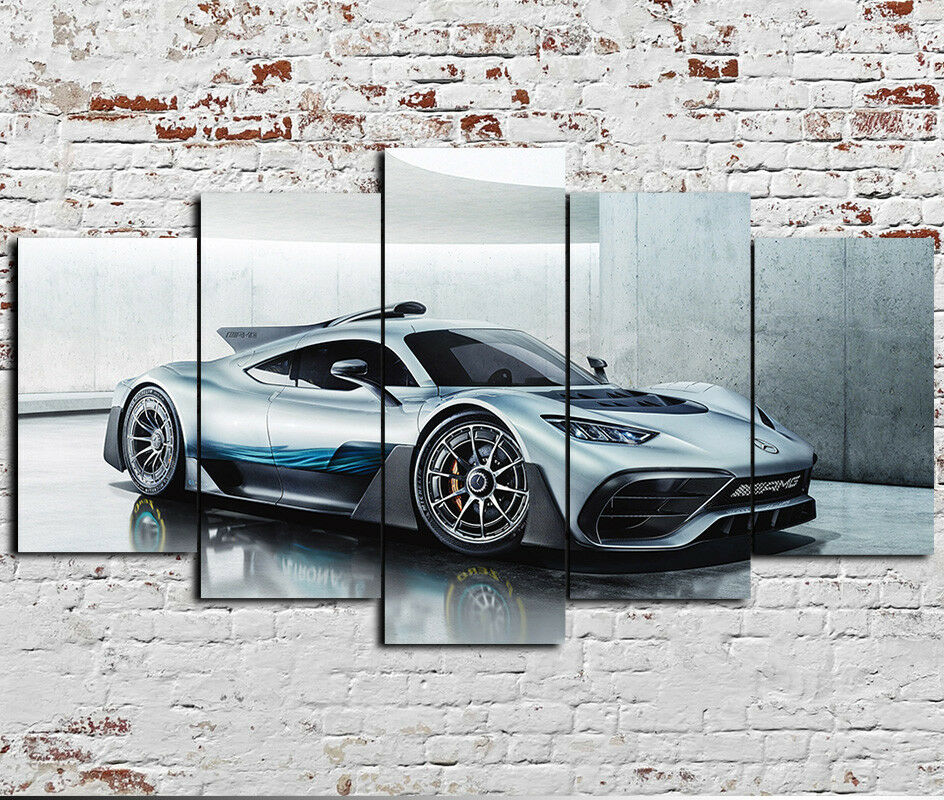 Framed Mercedes AMG Project ONE 5 Piece Canvas Print Wall Art Home Decor