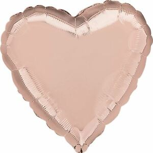 50-Rose-Gold-Heart-VALENTINES-DAY-Helium-Foil-Balloons-Wholesale-Job-Lot