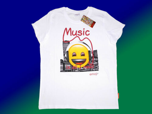 weißes emoji® Kindershirt T.-Shirt  mit Motiv Gr 116-164  NEU