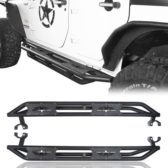 2x Side Step Nerf Bars Black Steel For 2007-2018 Jeep