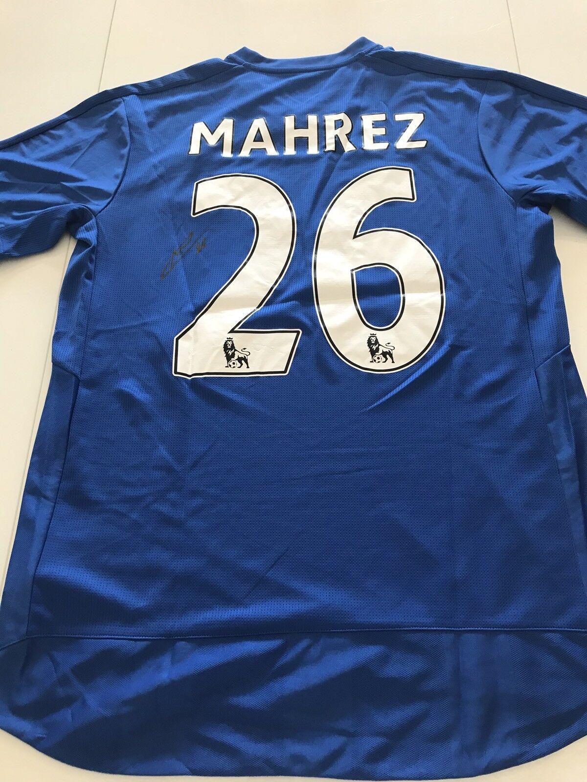 Maillot Football Riyad Marhez Leicester City 2015 16 Signed Signé Vintage COA