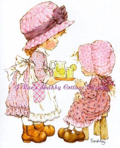 Little Girl Serving Lemonade Sarah Kay Print  Fabric Block Choose 5x7 or 8x10