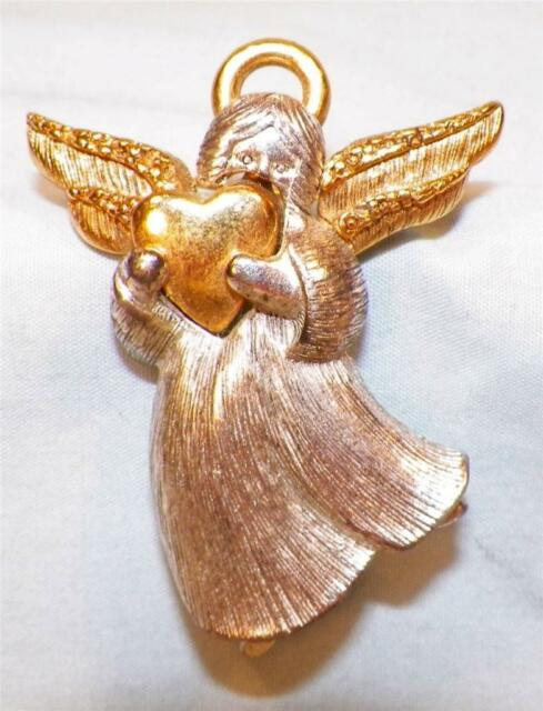Angel Pin Christmas Holidays Silvertone & Goldtone Metal Holding a Heart Sign LC