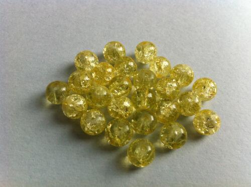 25 perles verre craquelé jaune creation bijoux collier bracelet 8mm