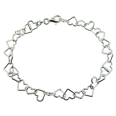 "Ladies 925 Sterling Silver Heart Link Chain Charm Bracelet 6.5"" 7"" 7.5"""