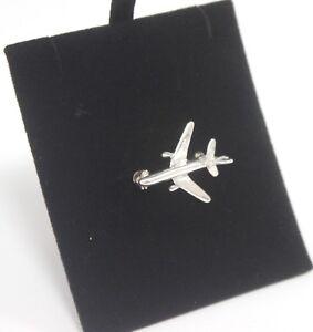 Brooch-925-Small-Aeroplane-Silver-Jewellery-3g-Ladies-Elegant-Gift