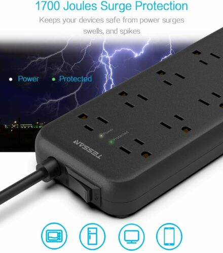 Multi Outlet 3 USB Ports Flat Plug Surge Protection Power Strip Charging Station