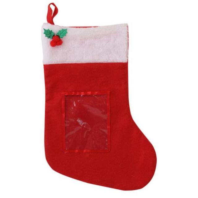 Rote Filz Strumpf mit Detail & Foto Tasche zu Personalisieren Selbst
