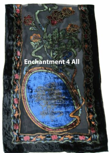 Elegant 100/% Silk Burnout Velvet Circle Art Oblong Scarf Wrap Blue//Black