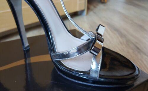 Uk 1 A Nero 6 Vernice Sandalo E Argento Tacco Eleganti Spillo Icone 39 2 Donna qwSBt8X