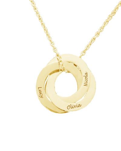 Personalizado 3 Anillo Colgante Collar de nombre grabado enlazados oro regalo de cumpleaños Reino Unido