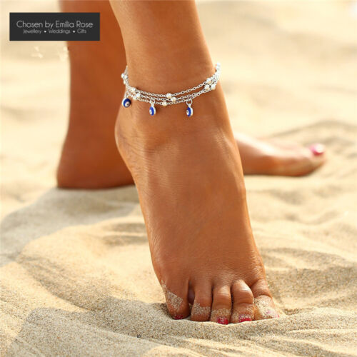Blue Charms Ankle Bracelet Women Anklet Adjustable Chain Beach Jewelry Silver