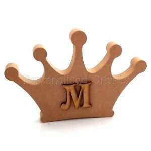 Personalised-Crown-Shape-With-Letter-Freestanding-Wall-Mounted-MDF-Craft-Blank