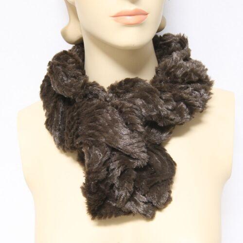 Womens Infinity Fur Warm Scarf Circle Print Design Cowl Shawl Fashion New