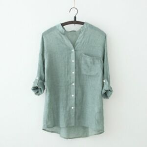 Ladies-Cotton-Linen-Shirt-Tops-V-Neck-3-4-Sleeve-Thin-Blouse-Summer-Casual-Loose