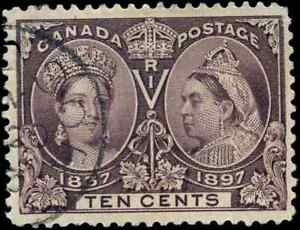 Canada #57 used F-VF 1897 Queen Victoria 10c brown violet Diamond Jubilee CDS