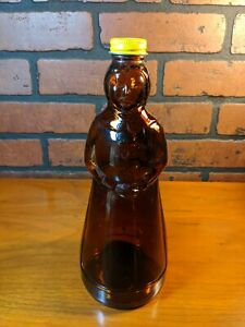 Vintage-Mrs-Butterworth-039-s-Syrup-Brown-Glass-Bottle-w-Metal-Cap-Lid-24oz-10-034