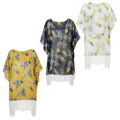 Women Beach Cover Up Summer Kaftan Boho Print Fringes Ladies Sarong One Size
