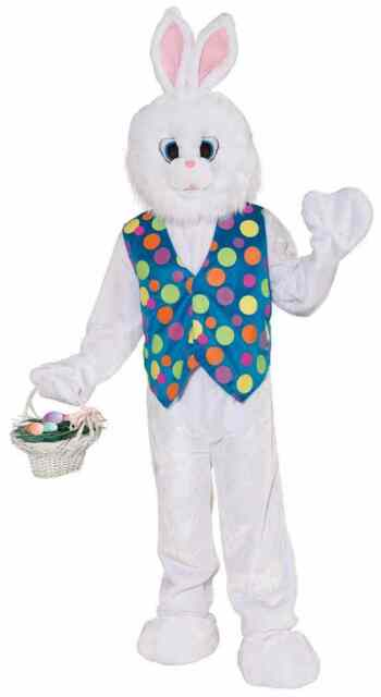 Plush Funny Bunny Rabbit Easter Mascot Fancy Dress Up Halloween Adult Costume