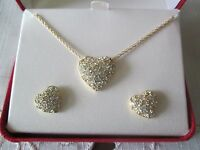 Avon Pave Heart Gift Setrhinestones,fine Rope Chain Is 17l Heart 5/8lnib