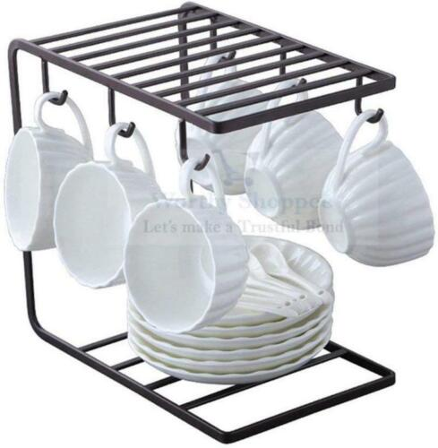 Coffee Mug Cup Holder Cup and Plate Stand Rack with 6 Hooks for Large Mug