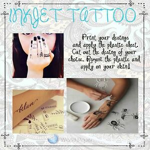 5 Temporary Tattoo Inkjet Decal Paper- Create Your Own :) | eBay