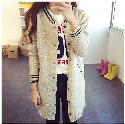 New Women girl Fashion Korean Winter Fall Sweater Coat Knitted Casual Striped